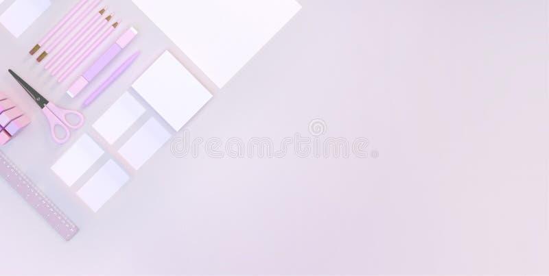 El espacio de trabajo moderno con efectos de escritorio fijó en fondo rosado del color Visión superior Endecha plana ilustración  libre illustration