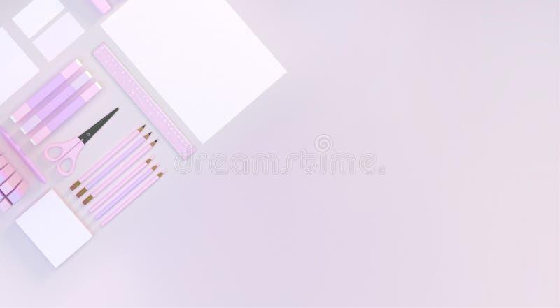 El espacio de trabajo moderno con el ordenador y efectos de escritorio fijó en el fondo blanco del color Visión superior Endecha  libre illustration