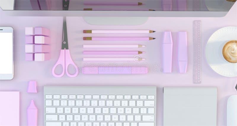 El espacio de trabajo moderno con el ordenador y efectos de escritorio fijó en fondo rosado del color Visión superior Endecha pla stock de ilustración