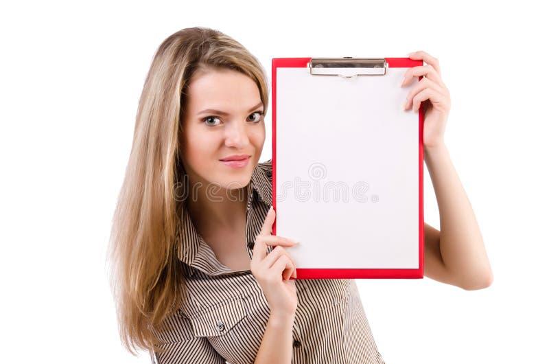 El espacio en blanco de la tenencia de la mujer joven aislado en blanco fotografía de archivo libre de regalías