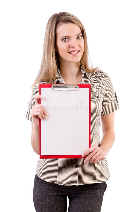 El espacio en blanco de la tenencia de la mujer joven aislado en blanco foto de archivo