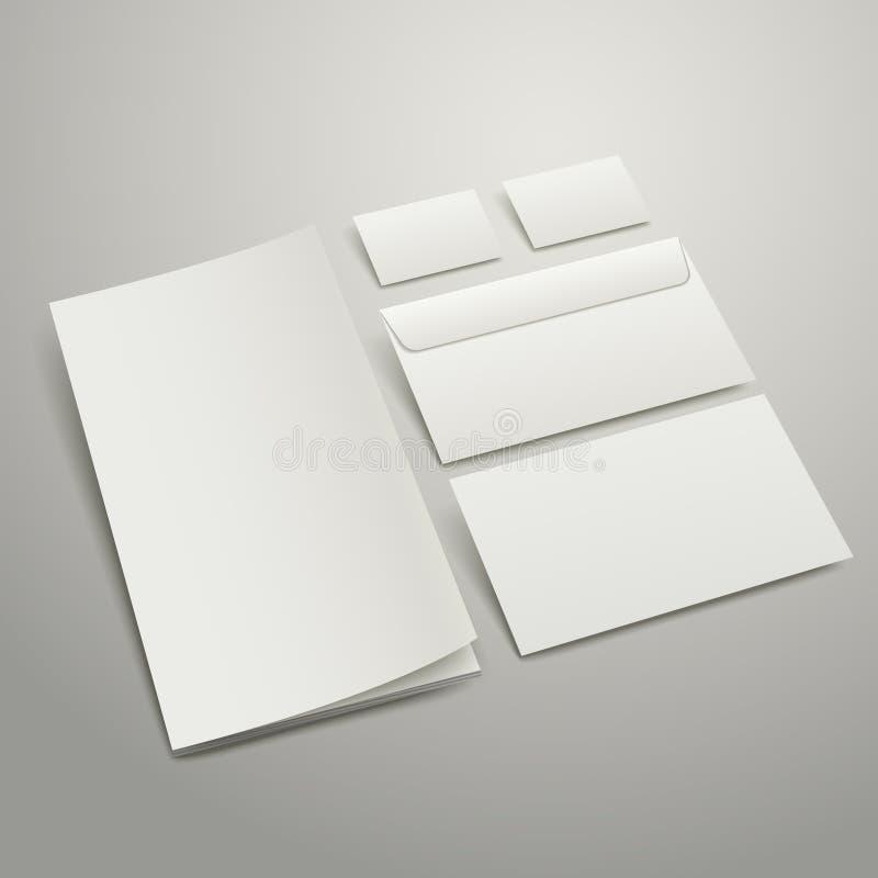 El espacio en blanco envuelve la tarjeta y la carpeta de visita stock de ilustración