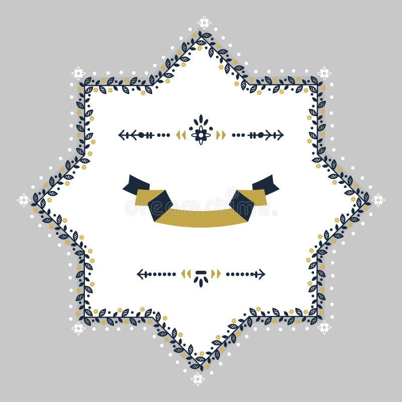 El espacio en blanco floral de la frontera de los azules marinos y de la primavera de oro protagoniza el emblema ilustración del vector