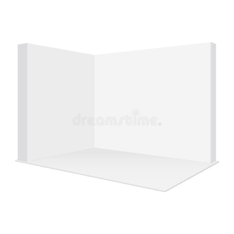 El espacio en blanco hace estallar encima de la maqueta de la cabina de la feria profesional, aislada en el fondo blanco stock de ilustración