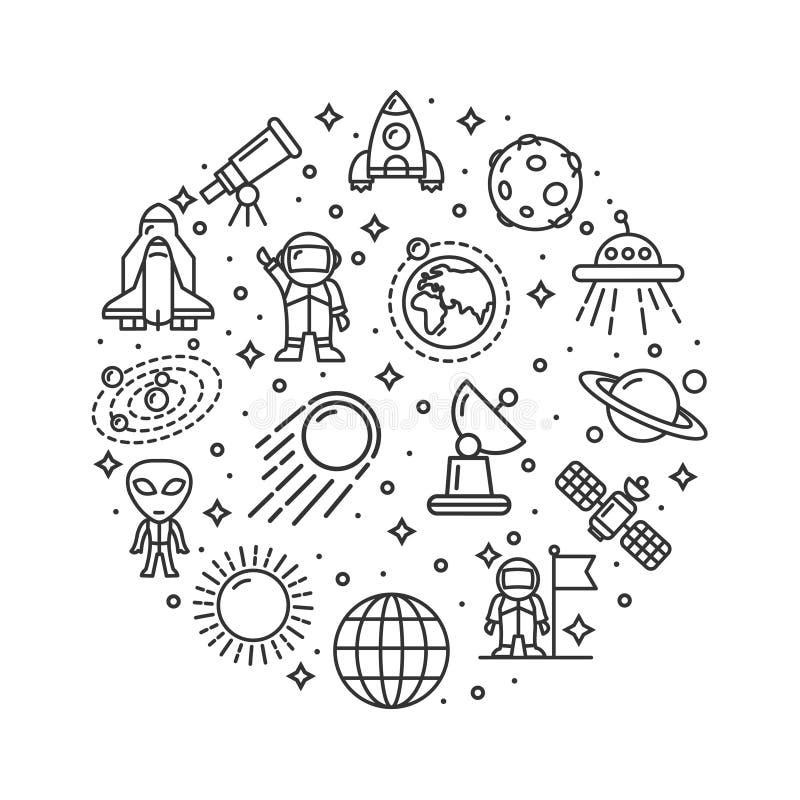 El espacio firma la línea fina concepto de la plantilla redonda del diseño del icono Vector libre illustration