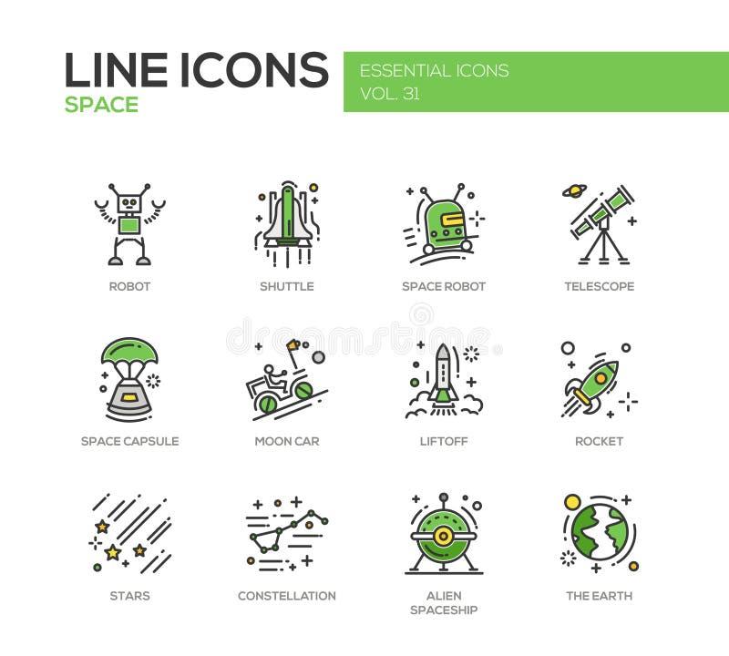 El espacio - línea iconos del diseño fijados libre illustration