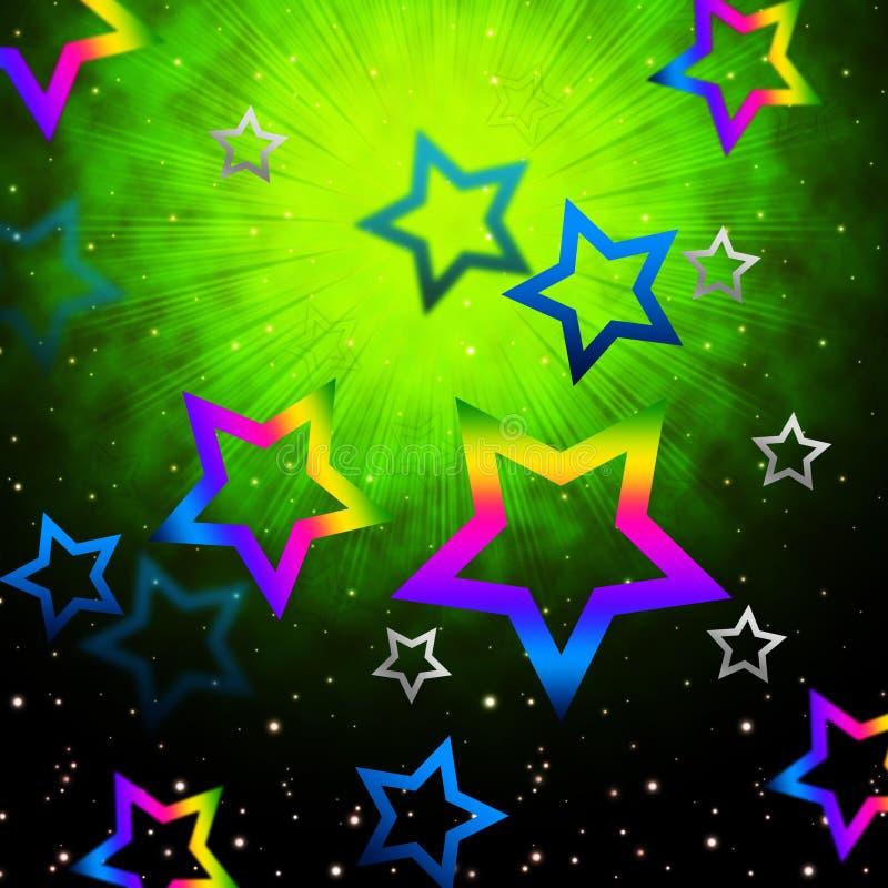 El espacio protagoniza la explosión ligera de las demostraciones de Backround en cielo stock de ilustración