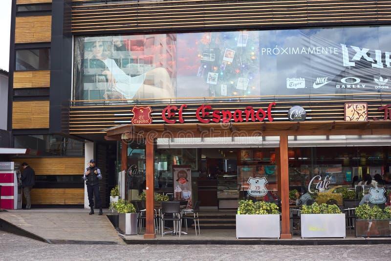 EL Espanol de café sur la plaza Foch à Quito, Equateur image libre de droits