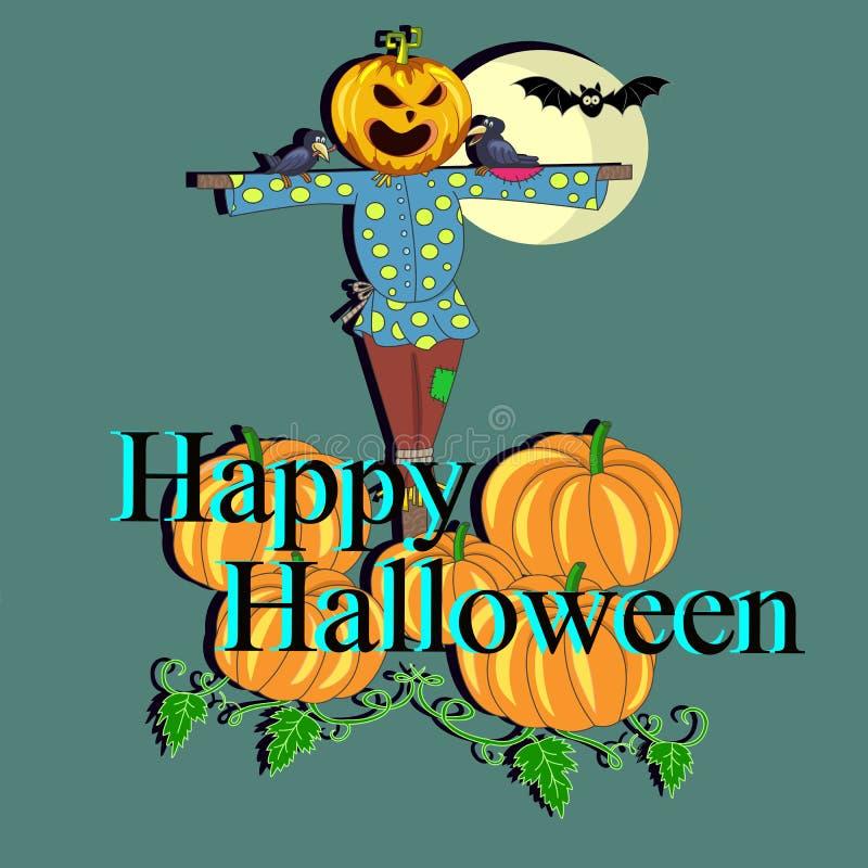 El espantapájaros asustadizo con una calabaza en su cabeza para invitar a Halloween ilustración del vector