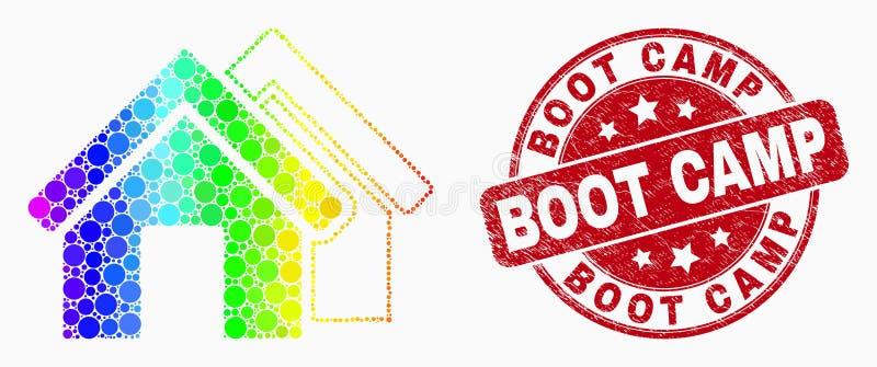 El espectro Pixelated del vector contiene el icono y el sello rasguñado del sello de Boot Camp libre illustration