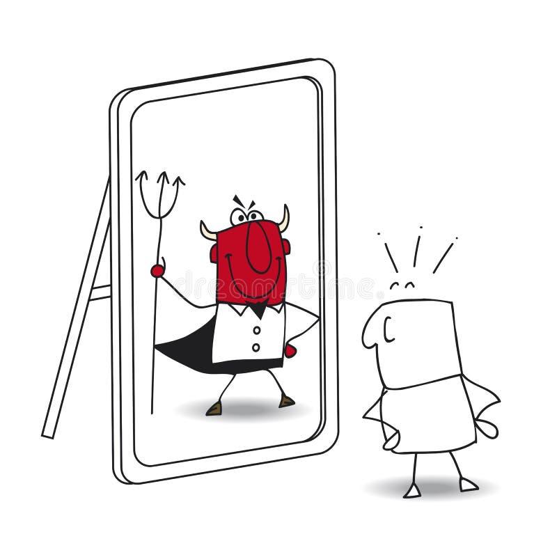 El espejo y el diablo stock de ilustración