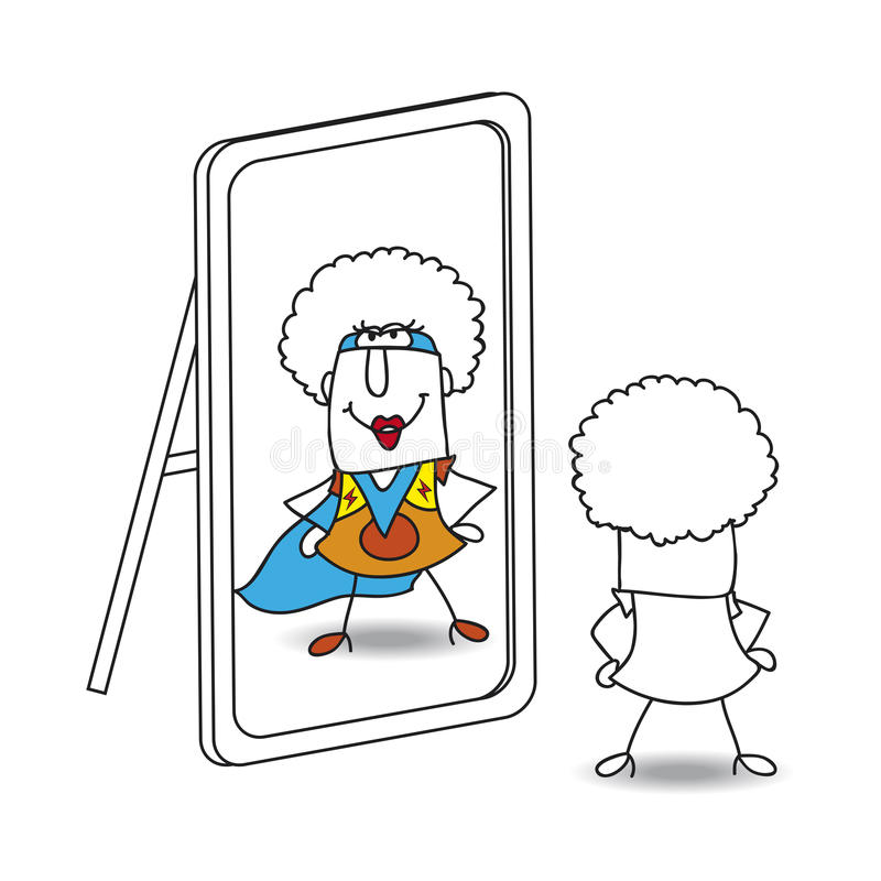 El espejo y el supergirl enrrollado ilustración del vector