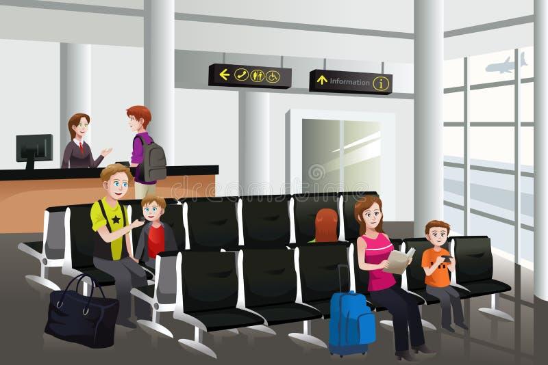 El esperar en el aeropuerto stock de ilustración