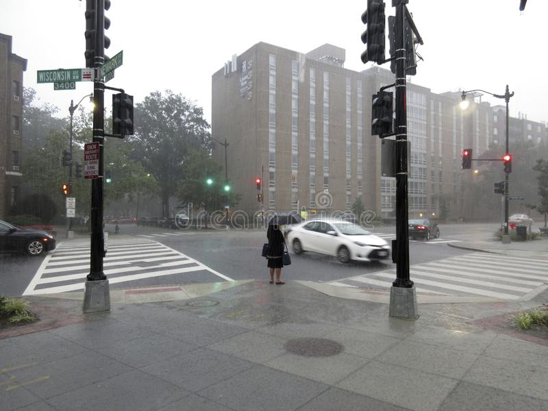 El esperar en la lluvia en Washington DC fotografía de archivo libre de regalías