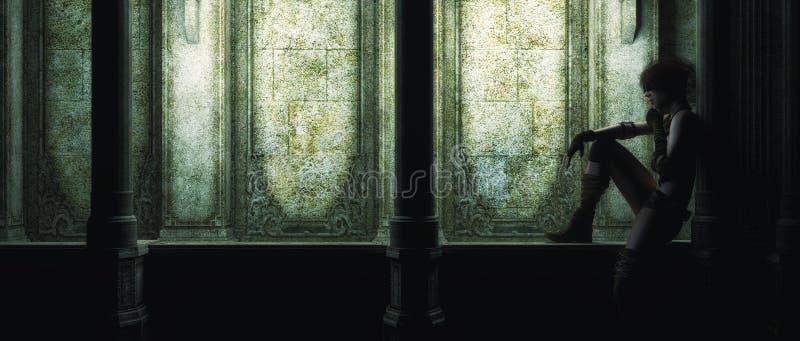 El esperar para siempre en la oscuridad ilustración del vector
