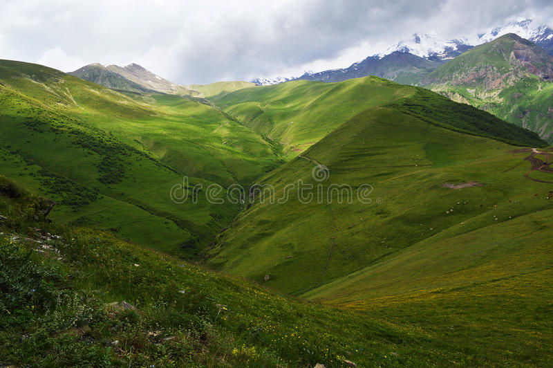 el esplendor de las montañas del Cáucaso fotos de archivo