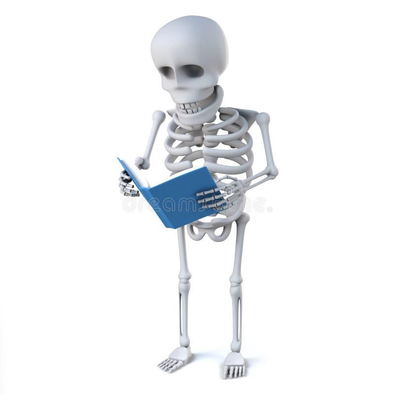 el esqueleto 3d lee un libro stock de ilustración