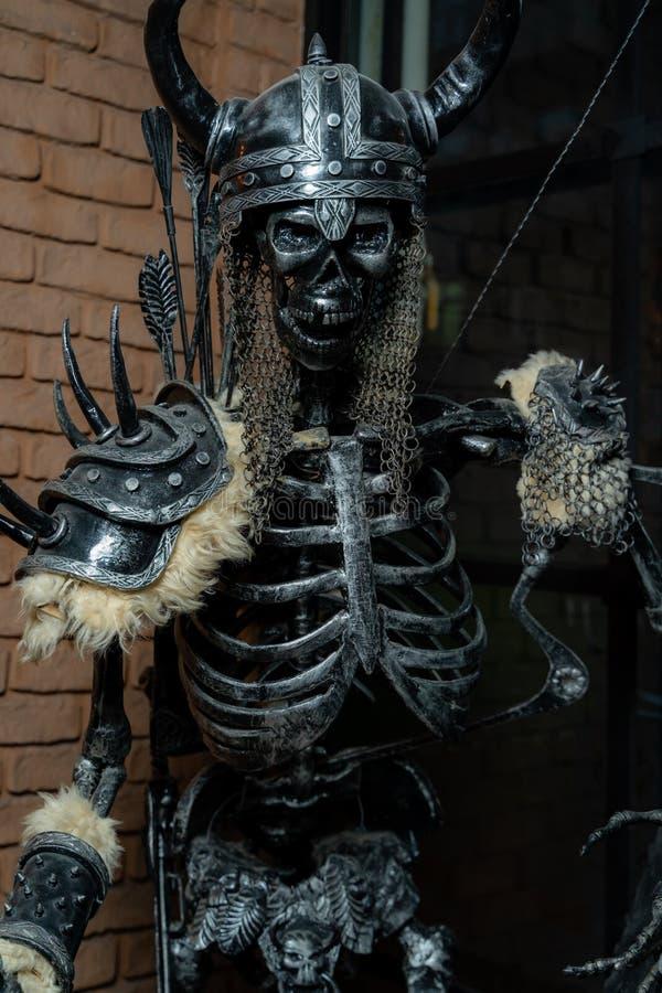 El esqueleto del hierro de Viking en armadura fotos de archivo libres de regalías