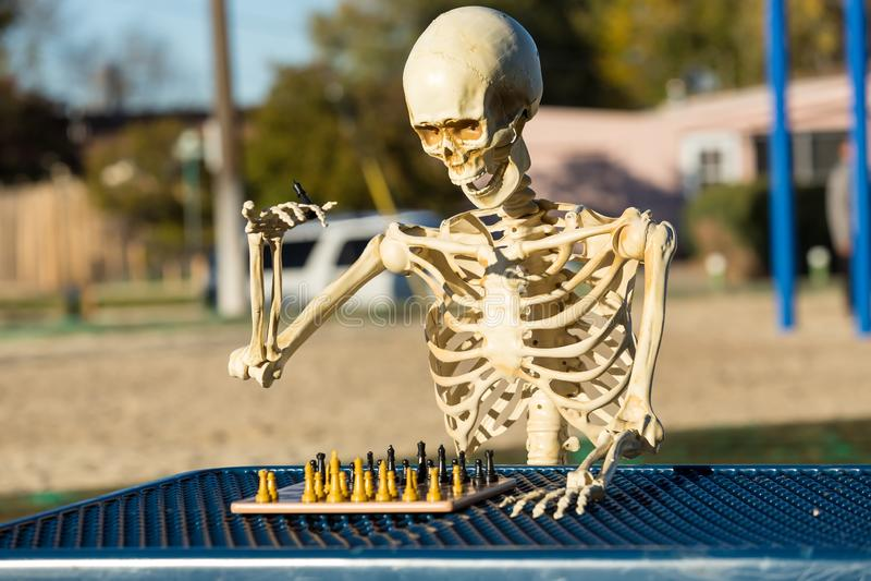El esqueleto hace un movimiento con su rey imagen de archivo libre de regalías