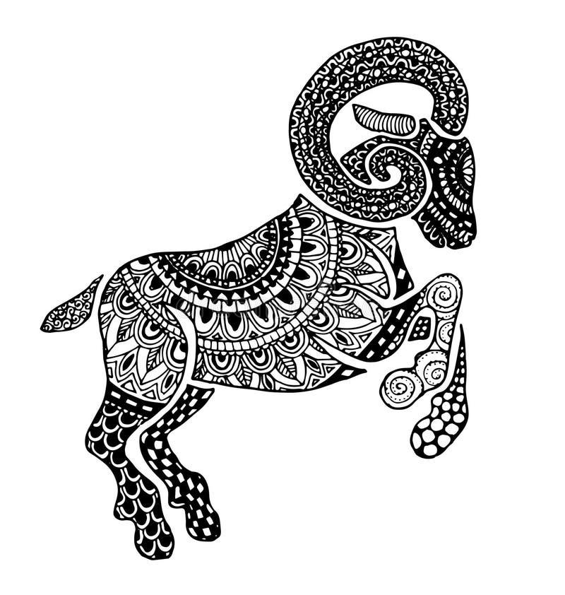 El esquema étnico del estilo del horóscopo de la muestra del aries libre illustration