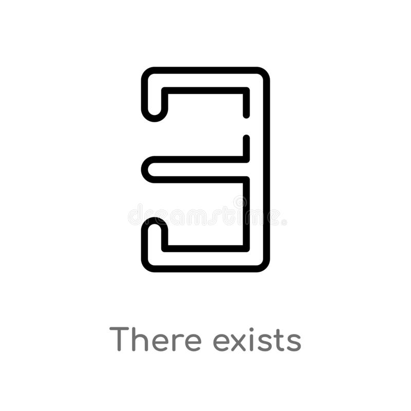 el esquema allí existe icono del vector línea simple negra aislada ejemplo del elemento del concepto de las muestras movimiento e stock de ilustración