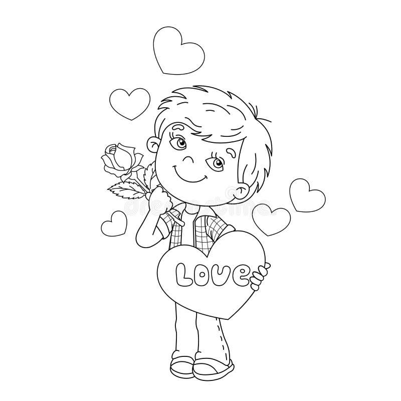 El esquema de la página que coloreaba del muchacho con subió a disposición con los corazones ilustración del vector