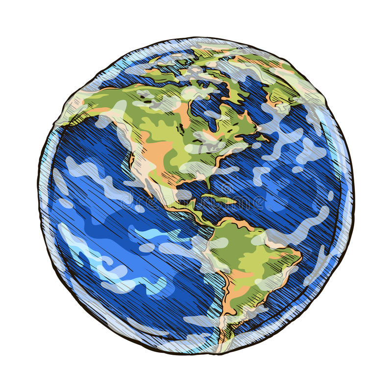 El esquema del globo coloreó el ejemplo del vector del dibujo de incompleto libre illustration