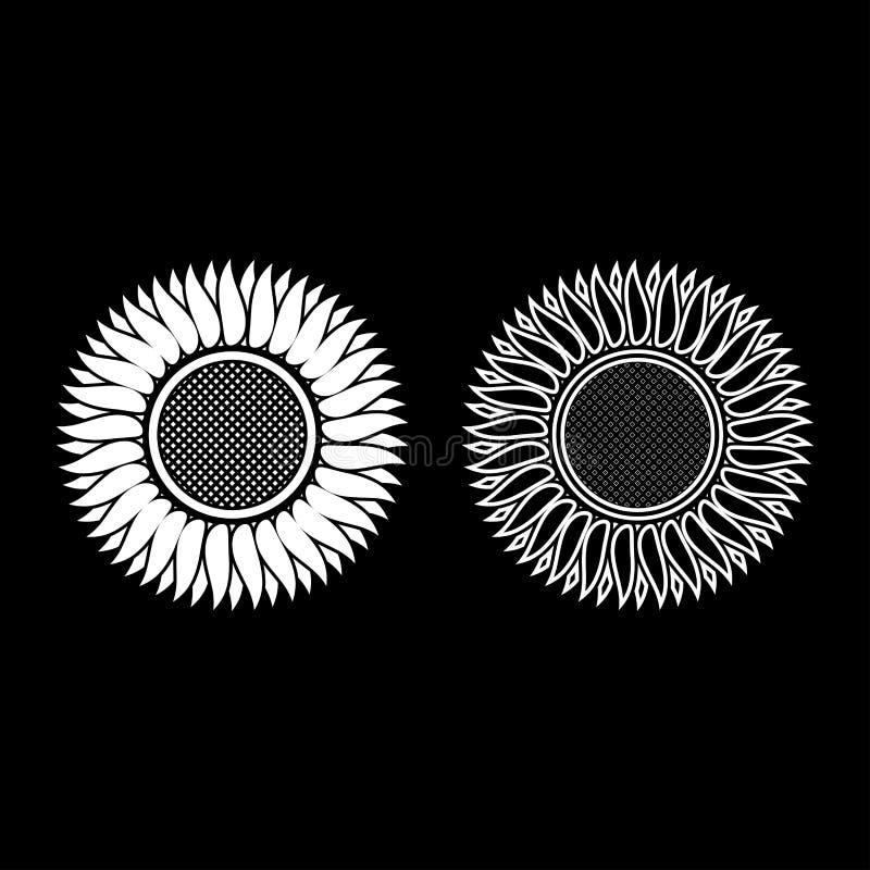 El esquema del icono del girasol fijó imagen plana del estilo del color del ejemplo blanco del vector ilustración del vector