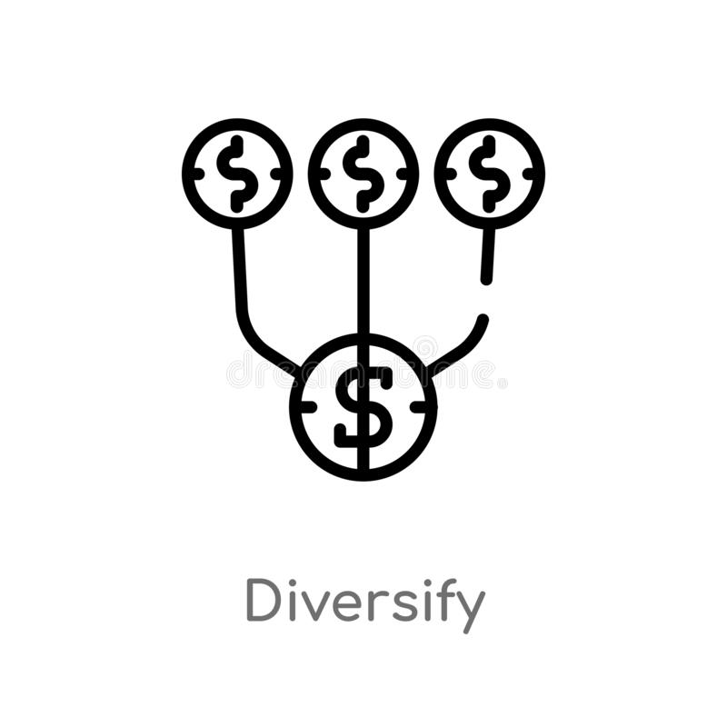 el esquema diversifica el icono del vector línea simple negra aislada ejemplo del elemento del concepto de comercialización Movim stock de ilustración