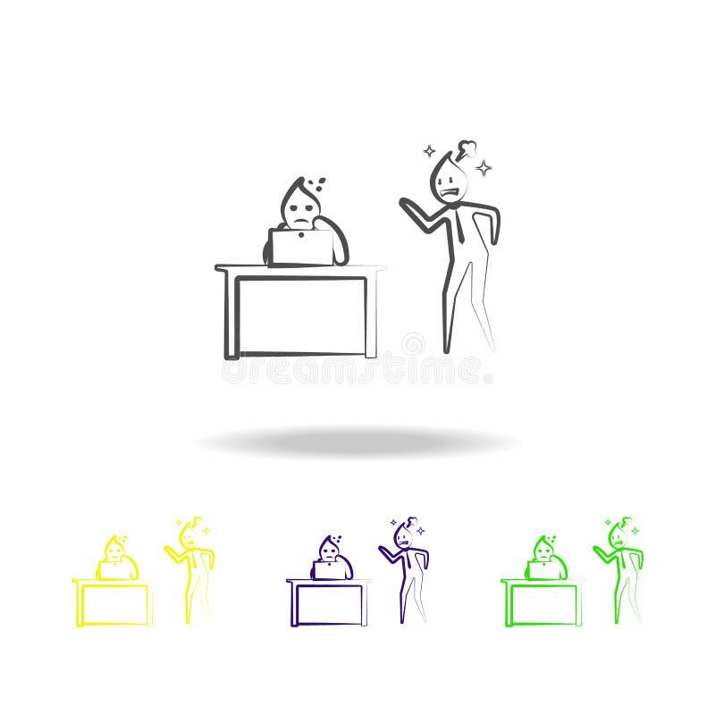 El esquema enojado del hombre de la oficina del grito del jefe coloreó iconos Elemento del ejemplo de la vida de la oficina Muest ilustración del vector