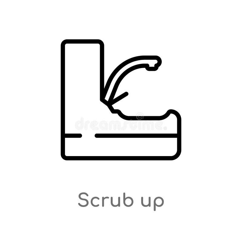 el esquema friega encima de icono del vector línea simple negra aislada ejemplo del elemento del concepto de la higiene el movimi libre illustration