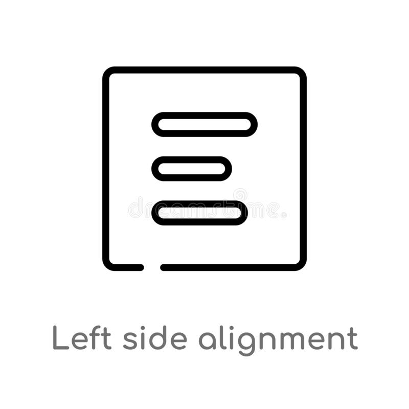 el esquema el icono del vector de la alineación del lado izquierdo línea simple negra aislada ejemplo del elemento del concepto d stock de ilustración
