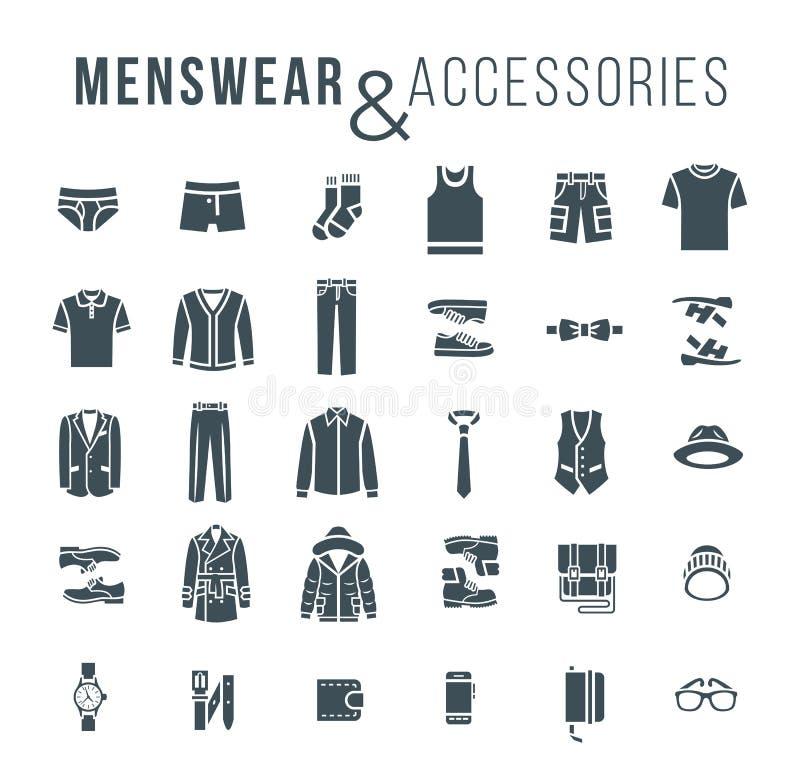 El esquema plano de la ropa y de los accesorios de la moda de los hombres vector iconos ilustración del vector