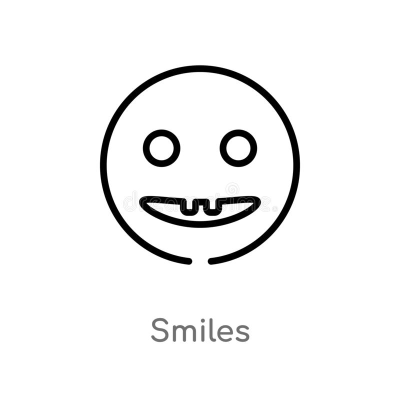 el esquema sonríe icono del vector línea simple negra aislada ejemplo del elemento del concepto de la interfaz de usuario Movimie libre illustration