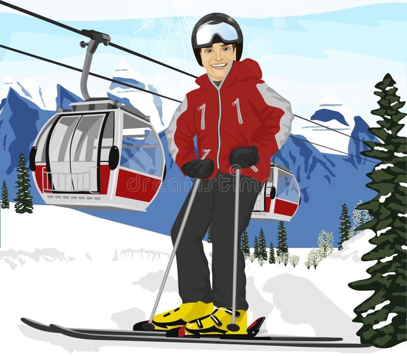 El esquiador del hombre joven que se coloca delante de los teleféricos levanta en la estación de esquí libre illustration
