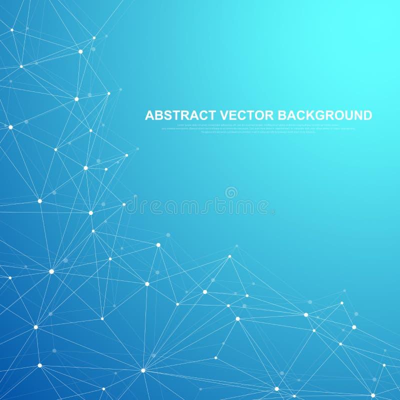 El establecimiento de una red conecta concepto abstracto de la tecnología Conexiones de red global con los puntos y las líneas libre illustration