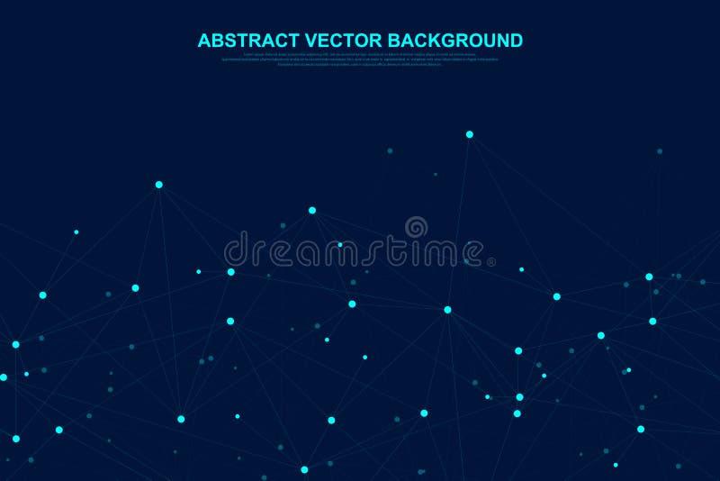El establecimiento de una red conecta concepto abstracto de la tecnología Conexiones de red global con los puntos y las líneas stock de ilustración