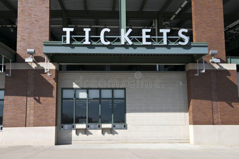 El estadio de los deportes marca la taquilla, boleto del juego foto de archivo