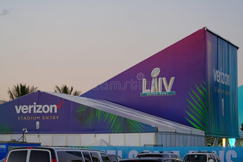El estadio Hard Rock de Miami, anfitrión del Superbowl 2020 LIV 54 imagen de archivo libre de regalías