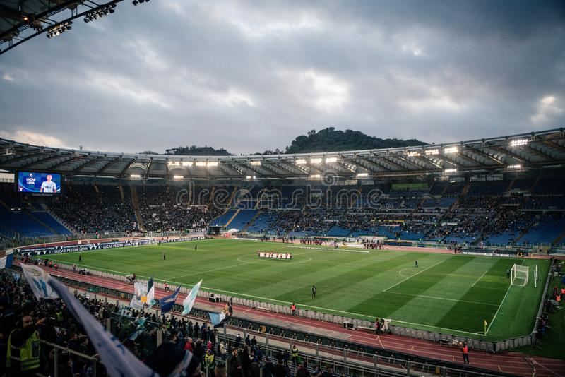 El estadio Olímpico en Roma, Italia foto de archivo