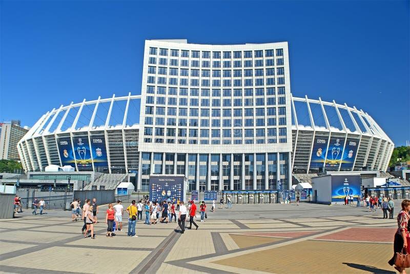El estadio Olímpico nacional antes del final 2018 de la liga de campeones de UEFA en Kiev, Ucrania, fotografía de archivo