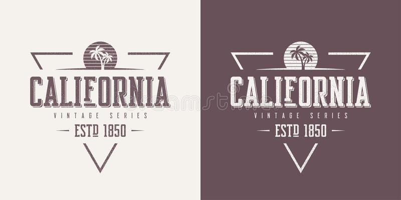 El estado de California texturizó el DES de la camiseta y de la ropa del vector del vintage ilustración del vector