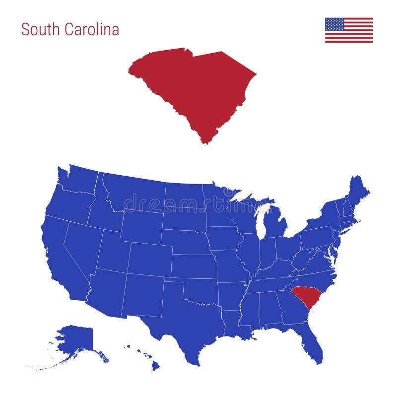El estado de Carolina del Sur se destaca en rojo Mapa del vector de los Estados Unidos divididos en estados separados ilustración del vector