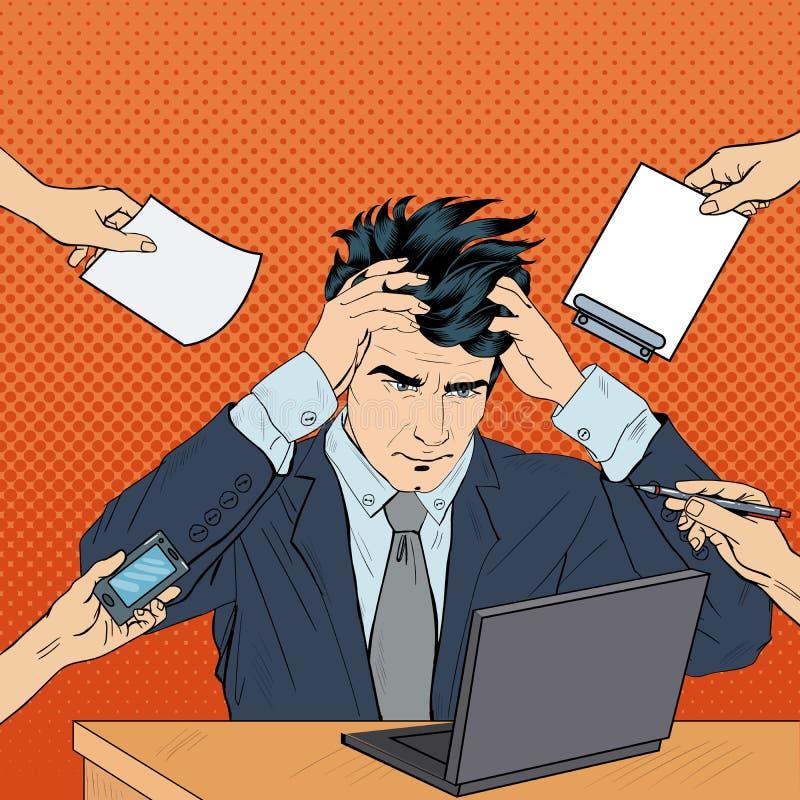 El estallido Art Stressed Businessman con el ordenador portátil asió su cabeza en el trabajo multi de la asignación libre illustration