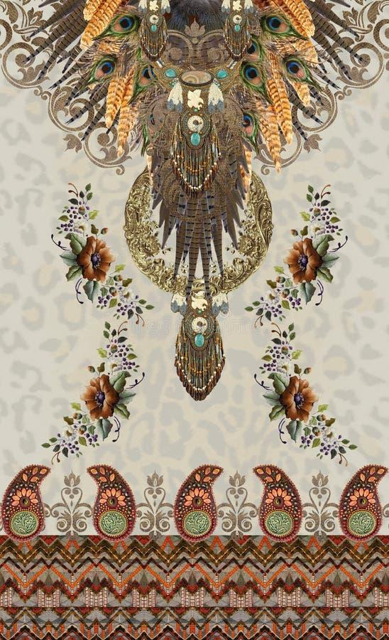 El estampado de animales florece el diseño barroco etnic fotos de archivo libres de regalías