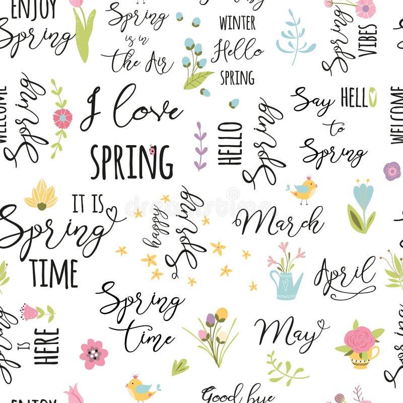 El estampado de flores con las flores de la floración salta los elementos cita el fondo inconsútil para el diseño de la tela en v ilustración del vector