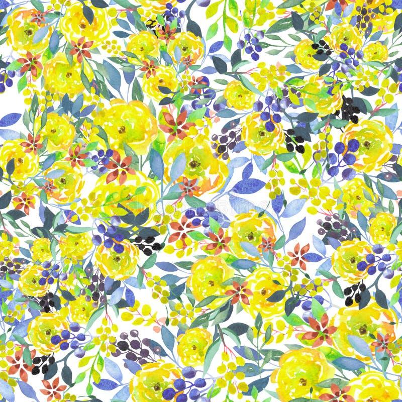 El estampado de flores inconsútil con amarillo de la acuarela florece, las hojas del azul y las bayas libre illustration