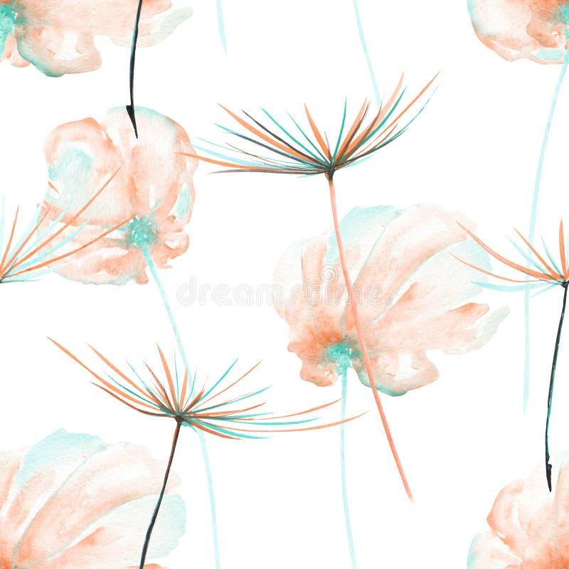 El estampado de flores inconsútil con el rosa de la acuarela y la menta ventilan las flores y los fuzzies del diente de león ilustración del vector
