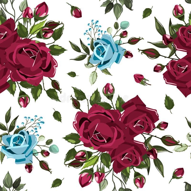 El estampado de flores inconsútil con los azules marinos de Borgoña del bordo subió los ramos de las flores ilustración del vector