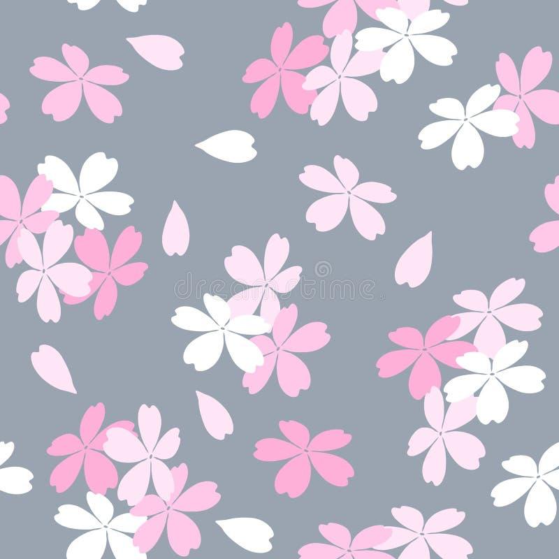 El estampado de flores inconsútil con Sakura rosado y blanco florece en un fondo gris stock de ilustración